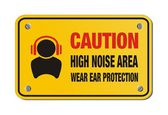 Caution high noise area, wear ear protection - yellow sign — 图库矢量图片