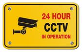 24 hour CCTV in operation yellow sign - rectangle sign — Stock Vector