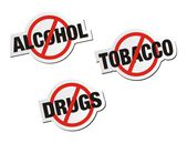 Anti alcohol, anti tobacco, anti drugs sticker signs — Stock Vector