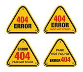 Error 404 triangle signs — Stock Vector