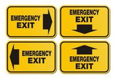 Emergency exit signs - yellow sign — Stock Vector