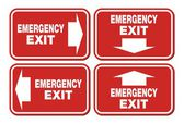 Emergency exit signs - red sign — Stock Vector