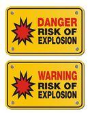 Riesgo de explosión - signos rectángulo amarillo — Vector de stock