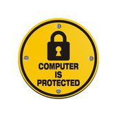 Computer is protected - circle signs — Vector de stock
