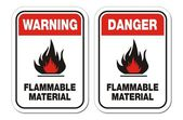 Warning and danger flammable material signs — Stock Vector