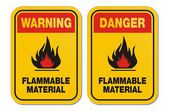 Warning and danger flammable liquid yellow signs — Stock Vector