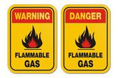 Warning and danger flammable gas yellow signs — Stock Vector