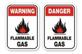 Warning and danger flammable gas signs — Stock Vector