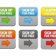 Colorful sign up for free buttons — Stock vektor