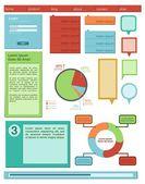 Kit di interfaccia utente piatto colorato — Vettoriale Stock