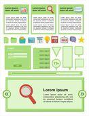 平らなユーザー インターフェイス - グリーン色 — ストックベクタ