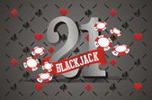 Blackjack banner with playing card background — Stock Vector