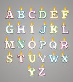 Alphabet candle with colorful outline — Stockvektor