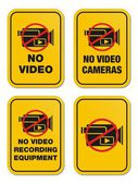 No video yellow signs — Stock Vector