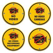 No video recording eqipment signs - cyrcle sign — Stock Vector