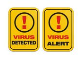 Virus alert yellow sign — Stock Vector