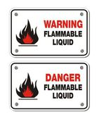 Rectangle signs - warning and danger flammable liquid — Stock Vector
