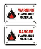Rectangle signs - warning and danger flammable material — Vector de stock