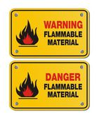 Rectangle yellow signs - warning and danger flammable material — Stock Vector
