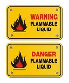 Rectangle yellow signs - warning and danger flammable liquid — Stock Vector