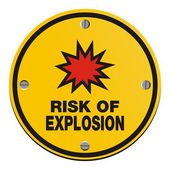 Risk of explosion - round yellow sign — Stock Vector