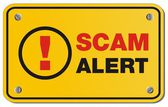 Scam alert yellow sign - rectangle sign — Stock Vector