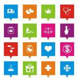 Medical marijuana square pointers — Stock Vector