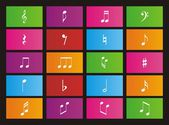 Music note metro style icons - rectangle — Stock Vector