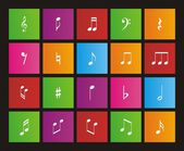 Music note metro style icons - square — Stock Vector