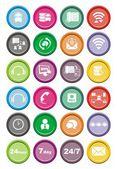 Call center round icon sets — Stock Vector