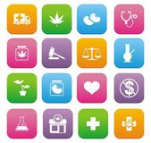 Medical marijuana icons - flat style icons — Stock Vector
