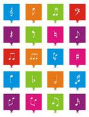 Music note square pointers — Stock Vector