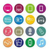 Multi-media round icon sets — Stock Vector