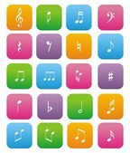 Music note flat style icon sets — Stock Vector