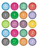 Music note round icon sets — Stock Vector