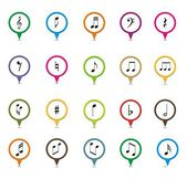 Set of music note pointer — Stock Vector