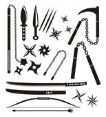 Ninja weapon sets — Stock Vector