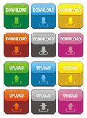 Colorful upload and download button sets — Stock Vector