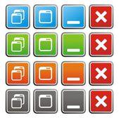 Maximiser minimiser les boutons carrés — Wektor stockowy