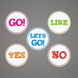 Go, like, yes, no, lets go sticker badge — Stock Vector