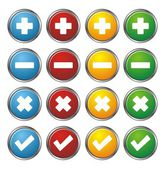 Plus, minus, check, cross circle buttons — Stock Vector