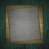 木材の背景にゴールド フレーム — ストック写真