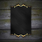 Picture frame on wood wall. design template — Stockfoto