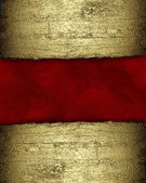 Red background with a gold strip from the tree pattern — Stockfoto