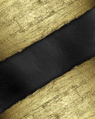 Black background with a gold strip from the tree pattern — Stock Photo