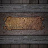木制背景装饰的金属板生锈的名称. — 图库照片