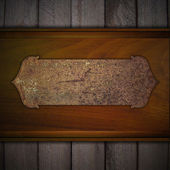 Wooden background with rust metal plate. Design template — Stok fotoğraf