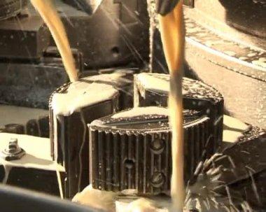 Lathe machining metal peeling — Stok video