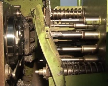 Close up driller and turning lathe — Stock Video