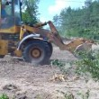 Stock Video: Worker operate with excavator